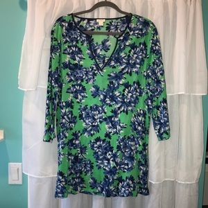 J. Crew Green and Blue floral patterned tunic